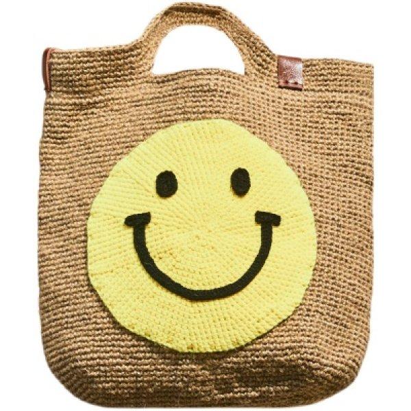 画像1: smiley faceWove one-shoulder Tote Bag  スマイリーフェイス ワンハンドルトートハンド籠バッグ かご カゴ  バック (1)