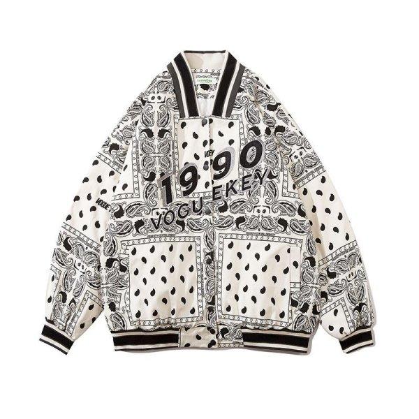 画像1: men's hip hop loose Paisley Stadium baseball uniform jacket blouson ユニセックス 男女兼用 ペイズリー スタジアムジャンパー スタジャン MA-1 ボンバー ジャケット ブルゾン (1)