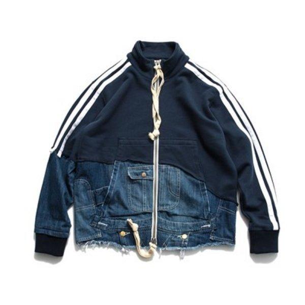 画像1: men's damage denim jacket blouson  ユニセックス男女兼用デニム&スウェット2本ラインダメージ ジャケット ブルゾン  MA-1 ボンバー   (1)