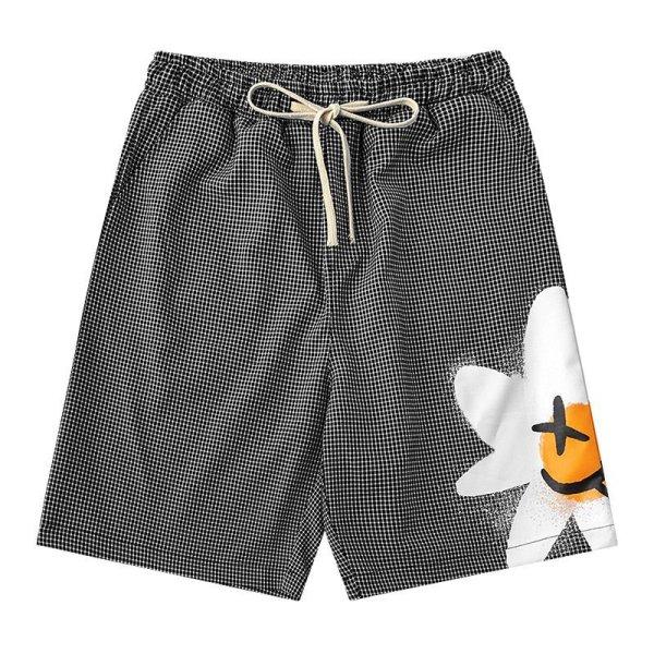 画像1: daisy loose street casual shorts five-point pants trousers Pants ユニセックス男女兼用デイジーポイント5分丈パンツ ショート パンツ (1)
