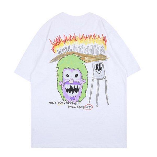 画像1: Unisex street bf wind monkey graffiti compassionateT-shirt   男女兼用 ウィンドモンキーグラフィティ半袖Tシャツ (1)