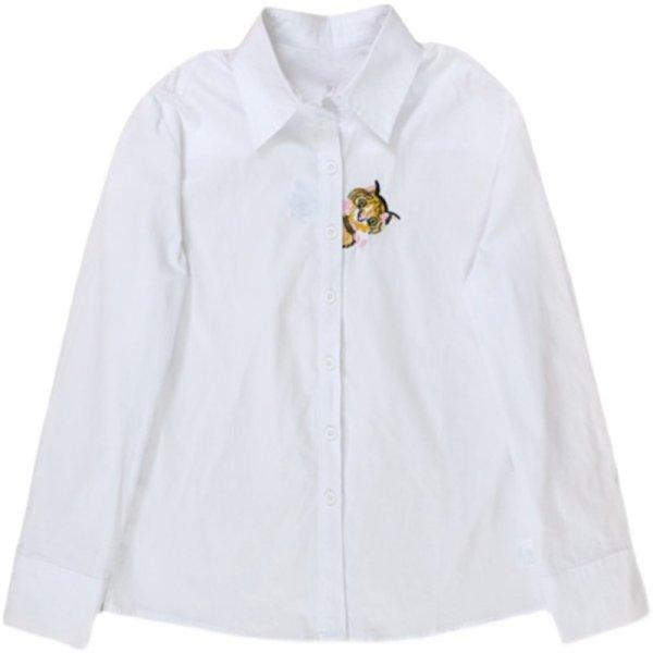 画像1: Cat embroidery long sleeve blouse shirt 猫刺繍長袖白ホワイトブラウス シャツ (1)