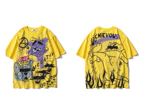 画像1:  Unisex tom and jerry& Skull graphics short-sleevedT-shirt スカル  男女兼用ユニセックストムとジェリー&スカル グラフィック半袖Tシャツ (1)