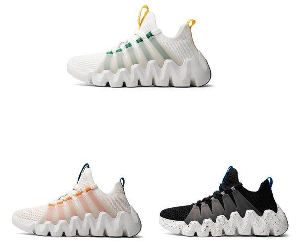 画像1: 21 Unisex Men's Lace up Reflective Chunky sole leather sneaker shoes メンズ 男女兼用 リフレクディブ チャンキーソール ソックススニーカー 厚底 アグリー スニーカー  (1)