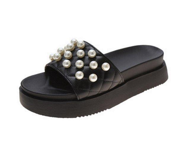 画像1: Women  Quilted sandals with pearl slippers  プラットフォーム キルティングレザーパール付きサンダル  スリッパ (1)
