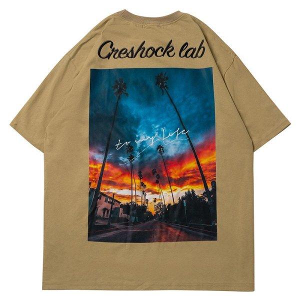 画像1: creshock cab West Coast Photo print short-sleevedT-shirt   男女兼用ユニセックスウエストコーストフォトプリント半袖Tシャツ (1)