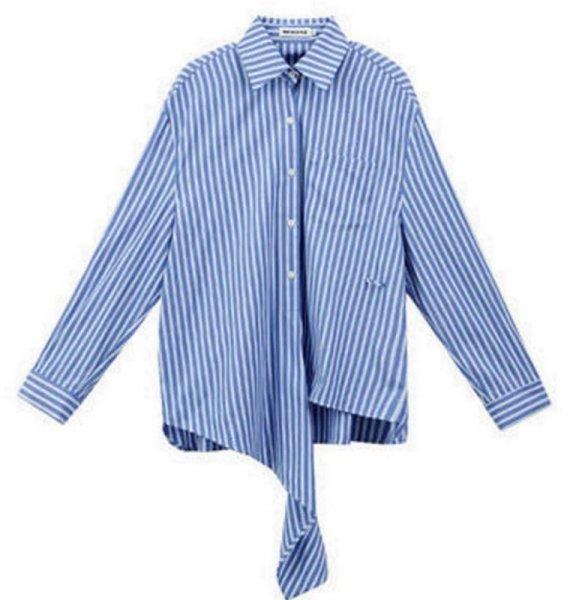 画像1: irregular striped long sleeve blouse shirt イレギュラーストライプ ボーダーブラウス シャツ (1)