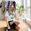 画像4: Unisex Smile & Four-leaf clover-print cotton-jersey T-shirt 四つ葉のクローバー スマイリー&ハート コットンTシャツ (4)