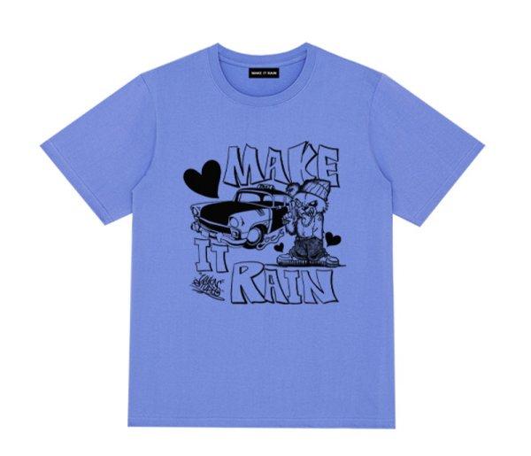 画像1: MAKE IT RAIN Letter logo short-sleeved T-shirt  男女兼用ユニセックスmake it rainロゴ半袖Tシャツ (1)