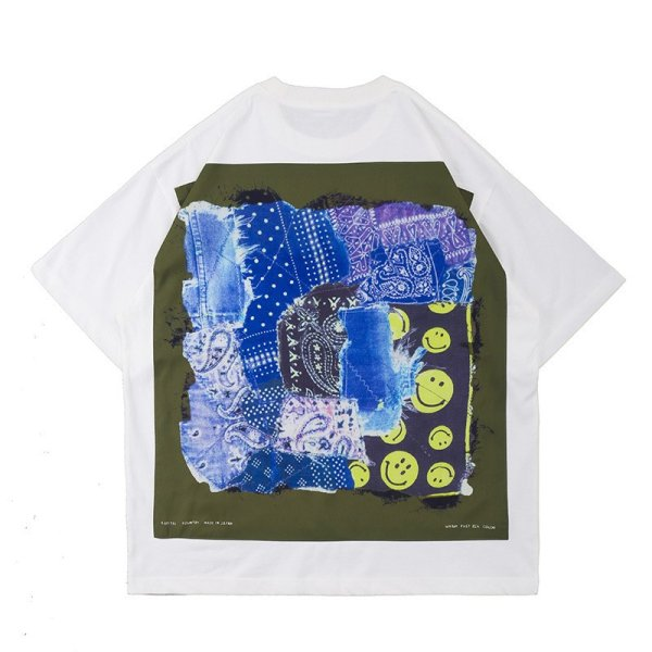画像1: Unisex Paisley & Smile short-sleeved T-shirt  男女兼用ユニセックス ペーズリー&スマイル 半袖Tシャツ (1)