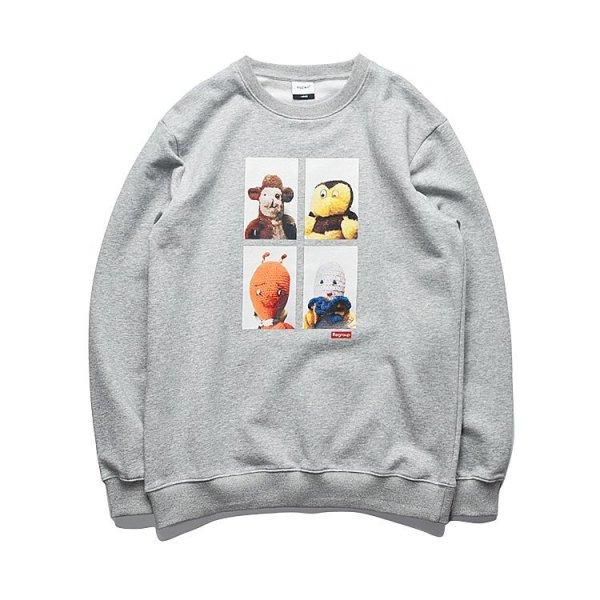 画像1: Unisex   trendy cartoon hedging round neck sweater T-shirt  男女兼用ユニセックスコミックプリント スウェットトレーナ Tシャツ (1)