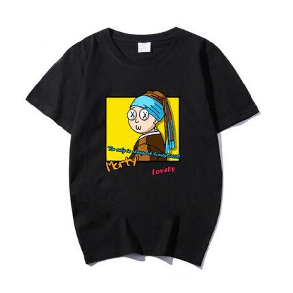 画像1: Unisex  Vermeer The Girl with Pearl Earring Parody Short Sleeve T-shirt   男女兼用  ユニセックス真珠の耳飾りパロディー 半袖Tシャツ (1)