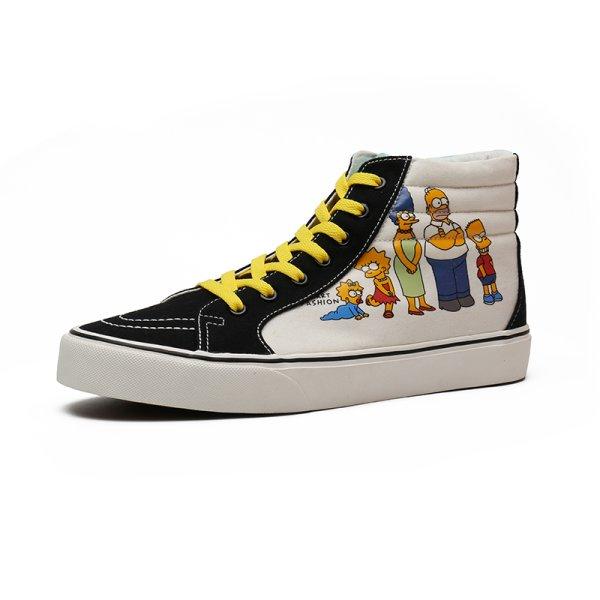 画像1: Unisex The Simpsons graffiti lace-up High cut sneakers  ユニセックス男女兼用ハイカットシンプソンレースアップ スニーカー (1)