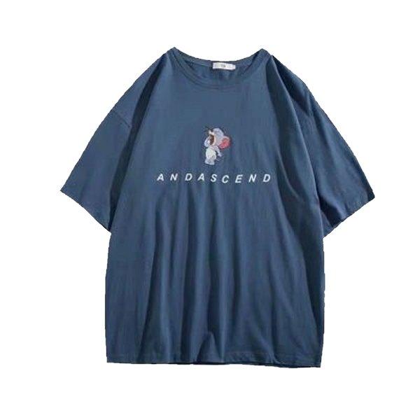 画像1: 21 TOM & JERRY Over Size ANDASCEND Logo T shirts オーバーサイズ ユニセックス 男女兼用 トムとジェリー トム&ジェリー ワンポイントロゴ 半袖 Tシャツ (1)
