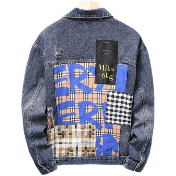 画像1: Unisex With graphic & emblem & check washed Denim Jacket blouson  ユニセックス男女兼用 グラフィック&エンブレム&チェック付き Gジャン ジャケット ブルゾン  MA-1 ボンバー   (1)