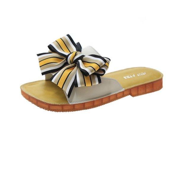 画像1: bow Leather sandals and slippers shoes   フラットボウ リボンレザーフラットサンダル  スリッパ シューズ  (1)