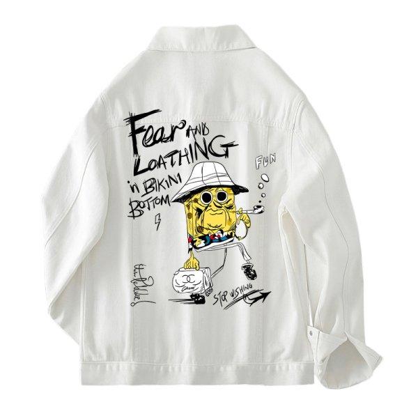 画像1: Unisex Sponge Bob denim jacket G Jean blouson  ユニセックス男女兼用 スポンジボブデニム Gジャン ジャケット ブルゾン  MA-1 ボンバー   (1)