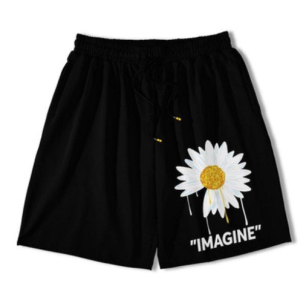 画像1: Daisy print sweatshirt shorts street casual shorts five-point pants   ユニセックス男女兼用デイジープリントスウェットショートパンツ (1)