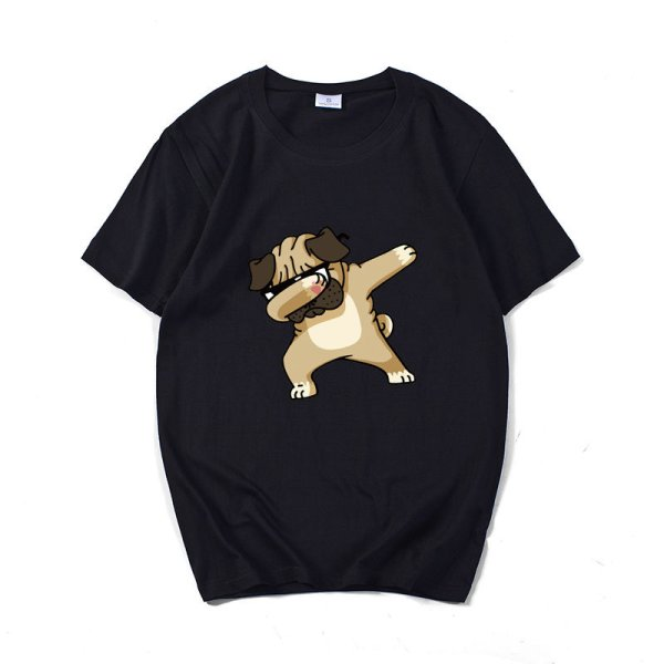 画像1: Unisex Dancing Bulldog short-sleeved T-shirt  ユニセックス 男女兼用ダンシングブルドックプリント 半袖 Tシャツ (1)