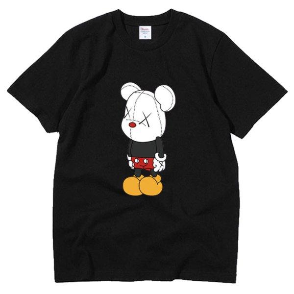 画像1: Unisex  Unisex Mickey x kaws T-shirt short-sleeved T-shirt  ユニセックス 男女兼用ミッキー×カウズ プリント 半袖 Tシャツ (1)
