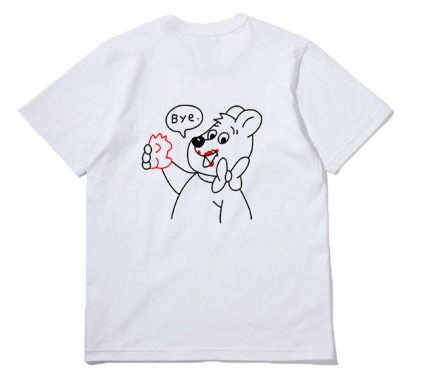 画像1:  Unisex Happy Bear Print T-shirt ユニセックス 男女兼用ハッピーベア プリント 半袖 Tシャツ (1)