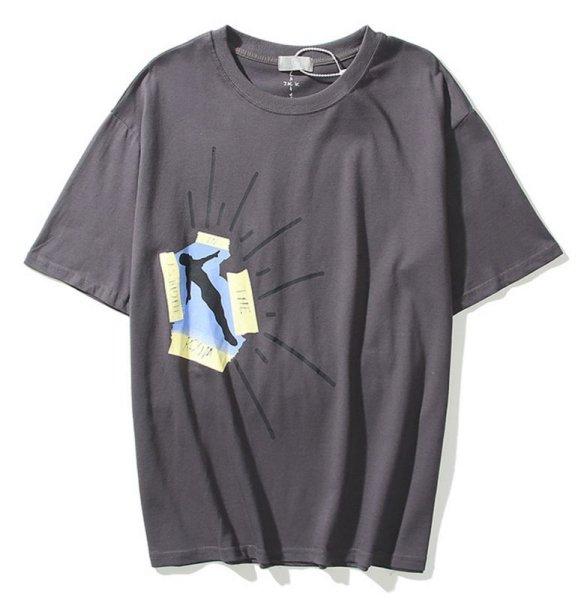 画像1:  Travis Scott TS flying printing Short SleeT Shirt カクタス サボテンロゴプリント Tシャツ ユニセックス男女兼用 (1)