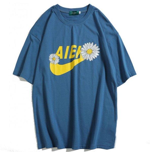 画像1: Unisex Daisy & logoT-shirt ユニセックス 男女兼用 デイジー&ロゴプリント オーバーサイズ半袖 Tシャツ (1)