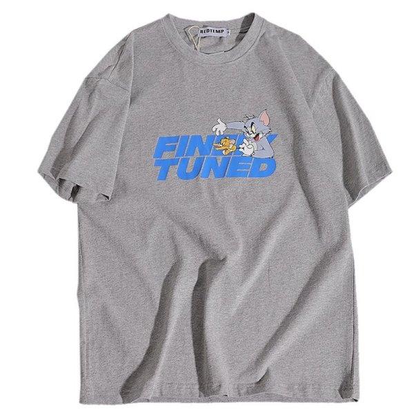 画像1: Unisex Tom and jerry&Letter logoT-shirt ユニセックス 男女兼用 トム&ジェリー トムとジェリー&レターロゴプリント 半袖 Tシャツ (1)