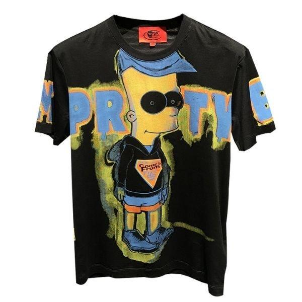画像1: The Simpsons Simpson graffiti hand paint Tshirts ザ・シンプソンズ  グラフィティ グラフィック 手書き風 ハンドペイント オーバーサイズ スウェット Tシャツ (1)