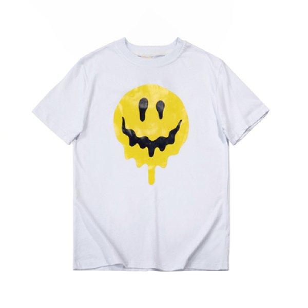 画像1: Unisex Smile drip peace large fit print cotton-jersey T-shirt ドロップ スマイリー スマイル ニコちゃん &ハート コットンTシャツ (1)
