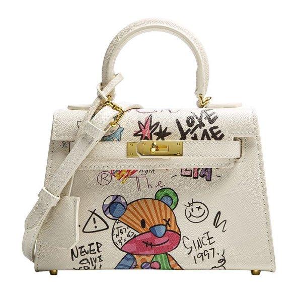 画像1: Woman  hand-painted graffiti portable tote messenger bag  グラフィックペイントレザートートショルダー2WAYバッグ (1)