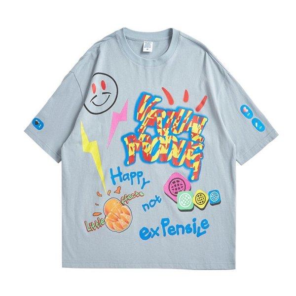 画像1:  Unisex smiley graffiti short-sleeved T-shirt   男女兼用 ユニセックススマーリー ペインティングTシャツ (1)