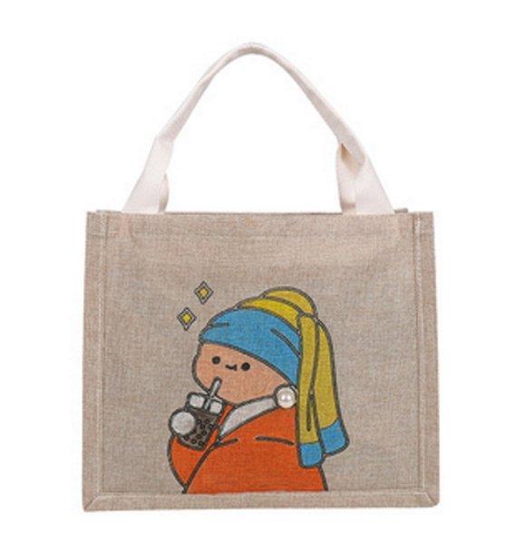 画像1: Homemade graffiti linen tote bag Eco bag   麻リネンハンドペイントトート ショルダーバック エコバック (1)