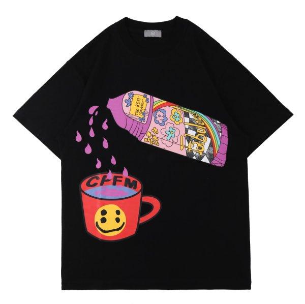 画像1: Four eye Smile print printing T-Shirt   男女兼用 ユニセックススマイルフォーアイ四ツ目プリントTシャツ (1)