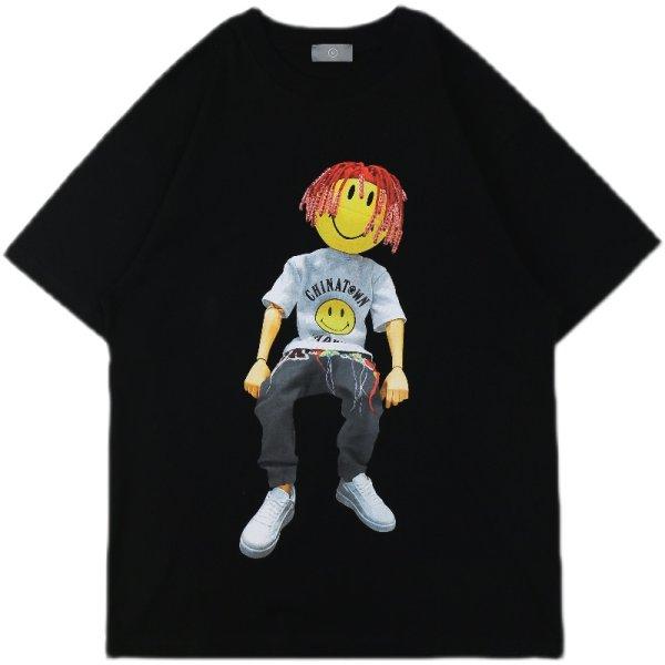 画像1:  smile face doll printing T-Shirt  男女兼用 ユニセックススマイリングドールTシャツ (1)