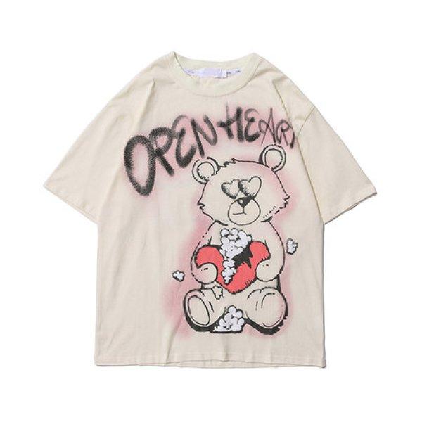 画像1: SALE セール 21 Open Heart Graffiti Paint Bear Tshirts  テディベア 熊  Tシャツ (1)