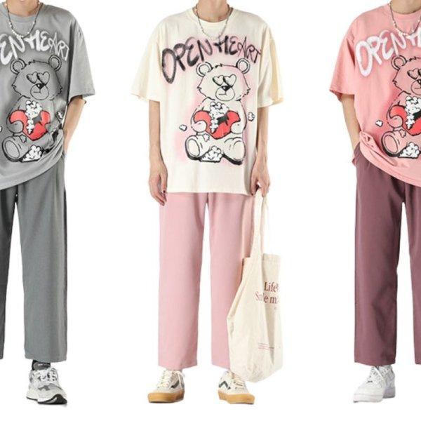 画像1: 21 Open Heart Graffiti Paint Bear Tshirts Pants Setup テディベア 熊  Tシャツセットアップ スウェット  (1)