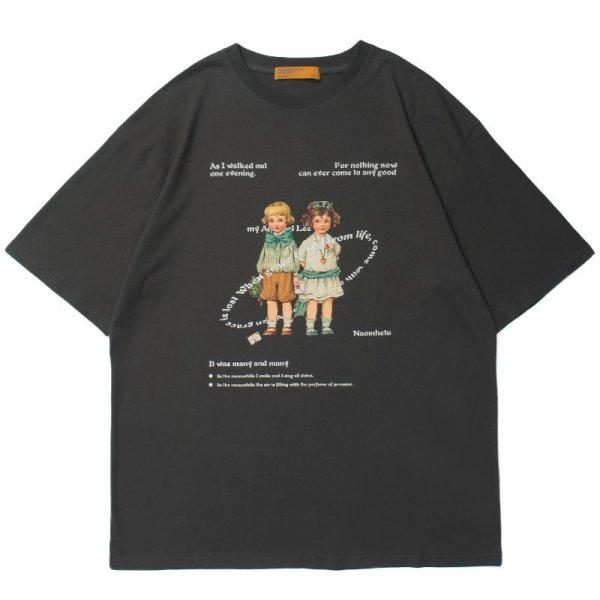 画像1: Retro girls photo print short-sleevedT-shirt unisex 男女兼用 ユニセックス レトロガールズフォトプリント 半袖Tシャツ (1)