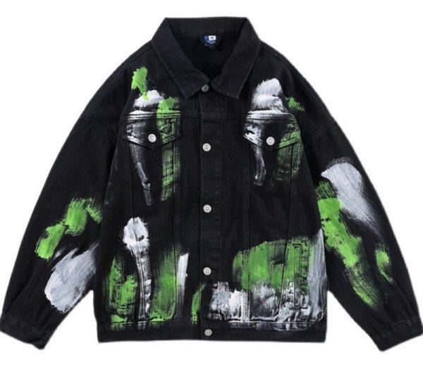 画像1: Splash Ink Graffiti Denim Jacket G Jean Jacket ユニセッ クス男女兼用スプラッシュインクグラフィティデニムGジャン ジャケット (1)