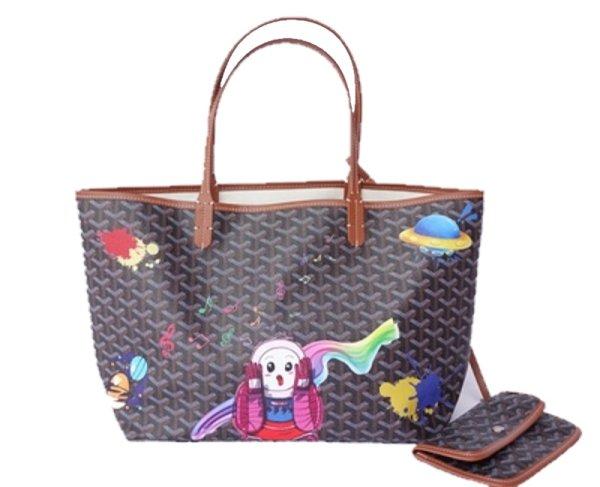 画像1: large-capacity graffiti printed leather tote bag shoppingbag グラフィティプリントレザーバッグ レジャートートショルダーバッグ (1)