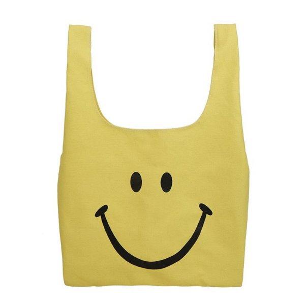 画像1: Smile purse tote  eco bag スマイルプリントキャンバス巾着トートバッグ (1)