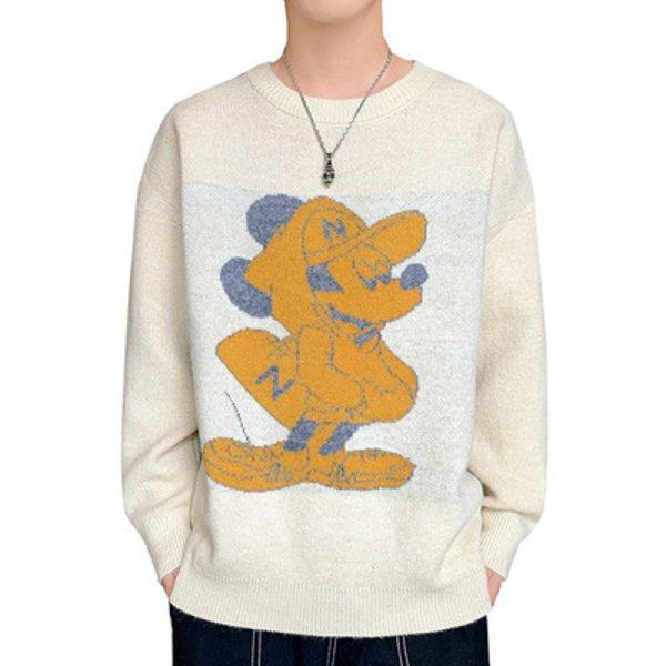 画像1: Unisex cap Mickey Mouse  Pullover Sweater 男女兼用 ユニセックスキャップミッキーマウス ミッキー編み込みプルオーバーセーター (1)
