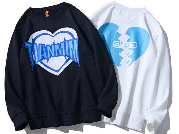画像1: Unisex love letter printing long-sleevedsweater 男女兼用 ユニセックスラブレタープリントロングスリーブトレーナー プルオーバー (1)