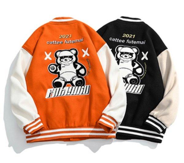 画像1: Bear bear embroidery BASEBALL JACKET baseball uniform jacket blouson ユニセックス 男女兼用 ベア 熊エンブレム スタジアムジャンパー スタジャン MA-1 ボンバー ジャケット ブルゾン (1)