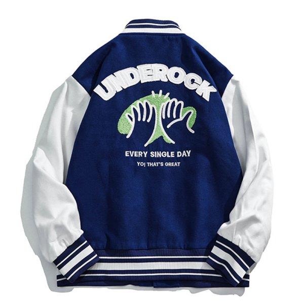 画像1: underock emblem BASEBALL JACKET baseball uniform jacket blouson ユニセックス 男女兼用 アンダーロックエンブレム スタジアムジャンパー スタジャン MA-1 ボンバー ジャケット ブルゾン (1)