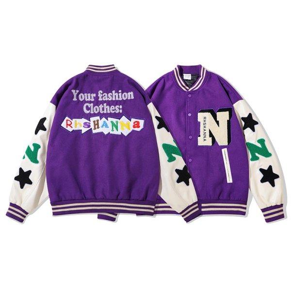画像1: RHSHANNA Emblem BASEBALL JACKET baseball uniform jacket blouson ユニセックス 男女兼用スター星&レターロゴヒップホップエンブレム スタジアムジャンパー スタジャン MA-1 ボンバー ジャケット ブルゾン (1)