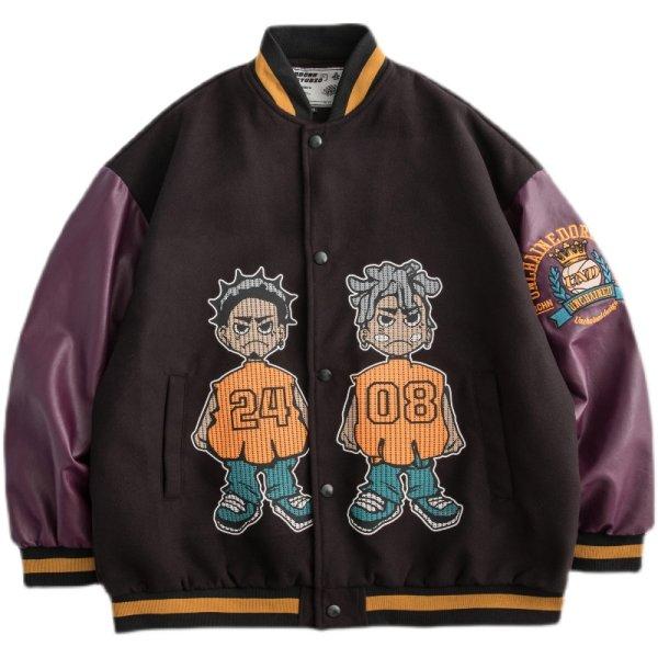 画像1: Hip hop boys BASEBALL JACKET baseball uniform jacket blouson ユニセックス 男女兼用ヒップホップボーイズ スタジアムジャンパー スタジャン MA-1 ボンバー ジャケット ブルゾン (1)