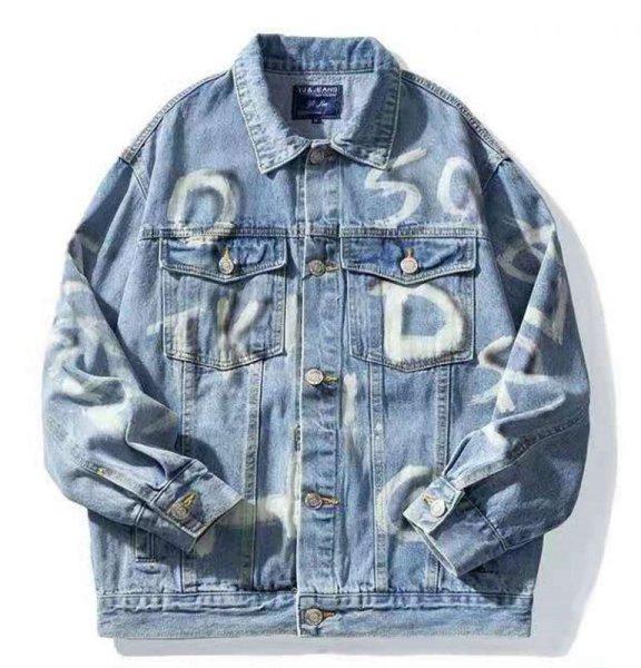 画像1: alphabet letter paint denim G Jean jacket Denim Jacket  ユニセッ クス男女兼用アルファベットレターペイント デニム Gジャン ジャケット (1)