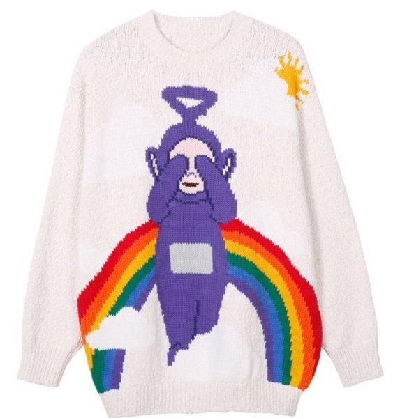 画像1: Unisex Teletubbies Embroidered Rainbow Sweater Knit 男女兼用  ユニセックス マスコット編み込みセーター   (1)