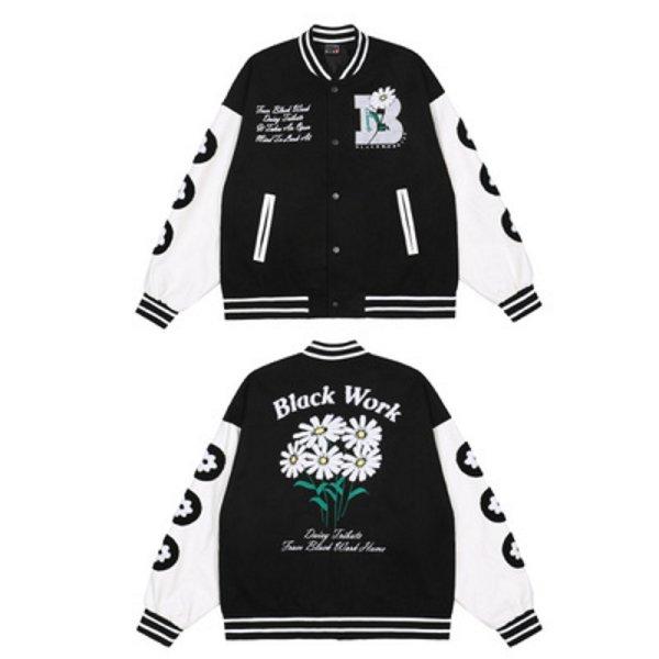 画像1: Daisy embroidery BASEBALL JACKET baseball uniform jacket blouson  ユニセックス 男女兼用デイジー フラワーエンブレム ヒップホップ スタジアムジャンパー スタジャン MA-1 ボンバー ジャケット ブルゾン (1)
